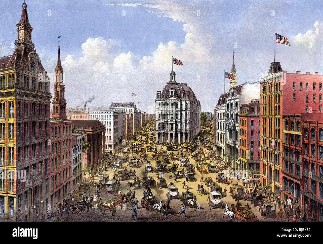 Lithograph colour print circa 1875 of Broadway in New York City as seen looking north from the Western Union Telegraph - Stock Image