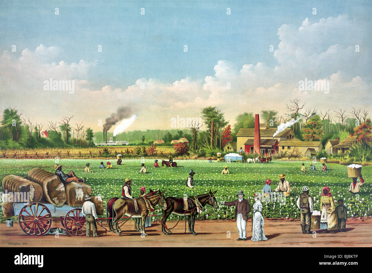 Lithograph colour print circa 1884 of a 19th century cotton plantation on the Mississippi River. - Stock Image