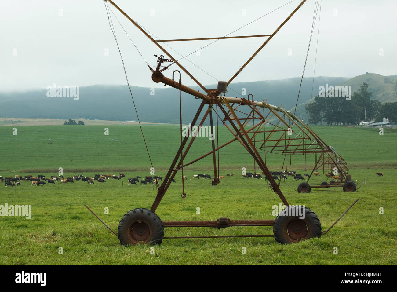 Centre pivot irrigation system on a farm in the Midlands, Kwazulu Natal, South Africa. - Stock Image