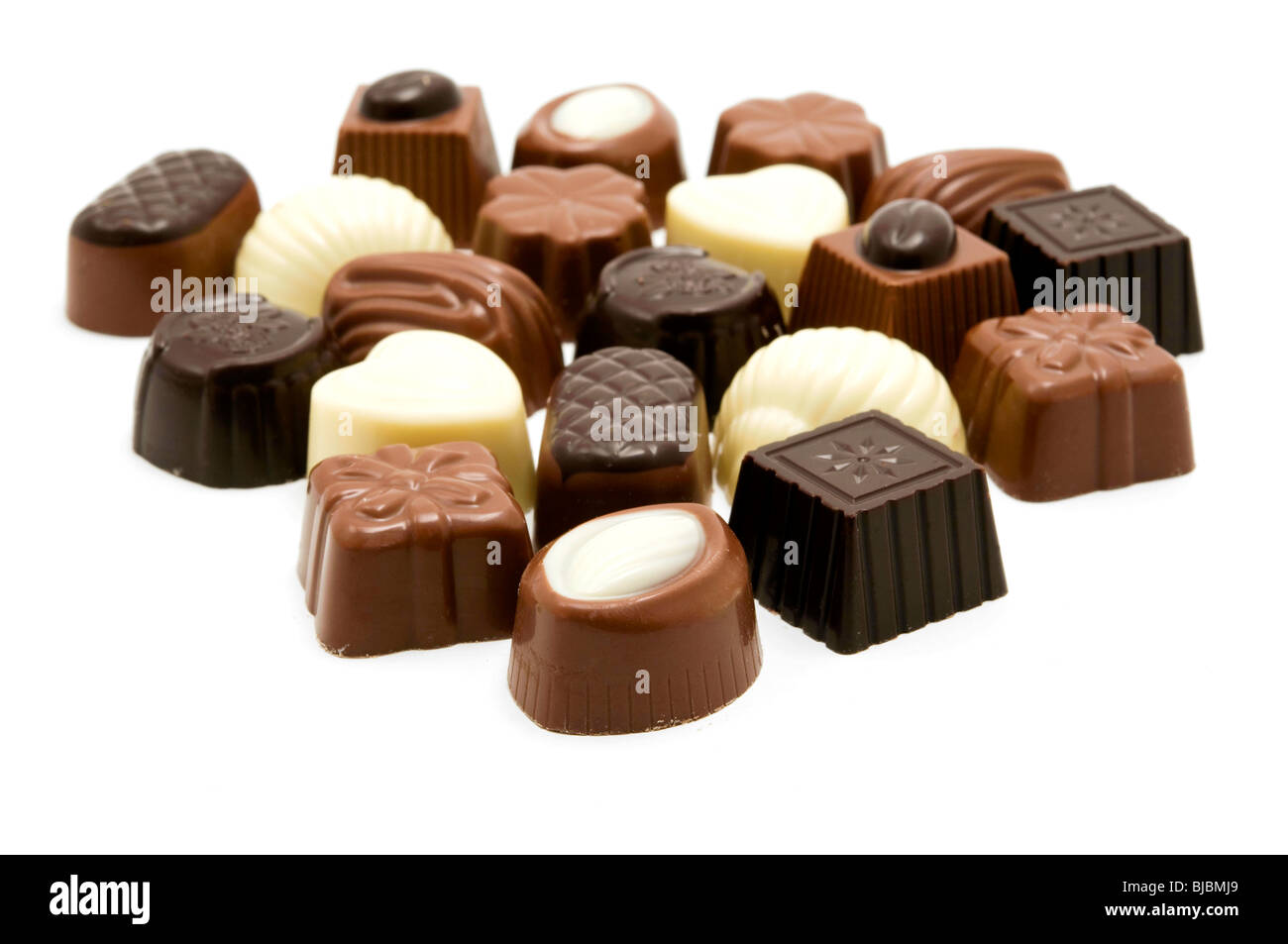 Assorted Belgian chocolates Stock Photo