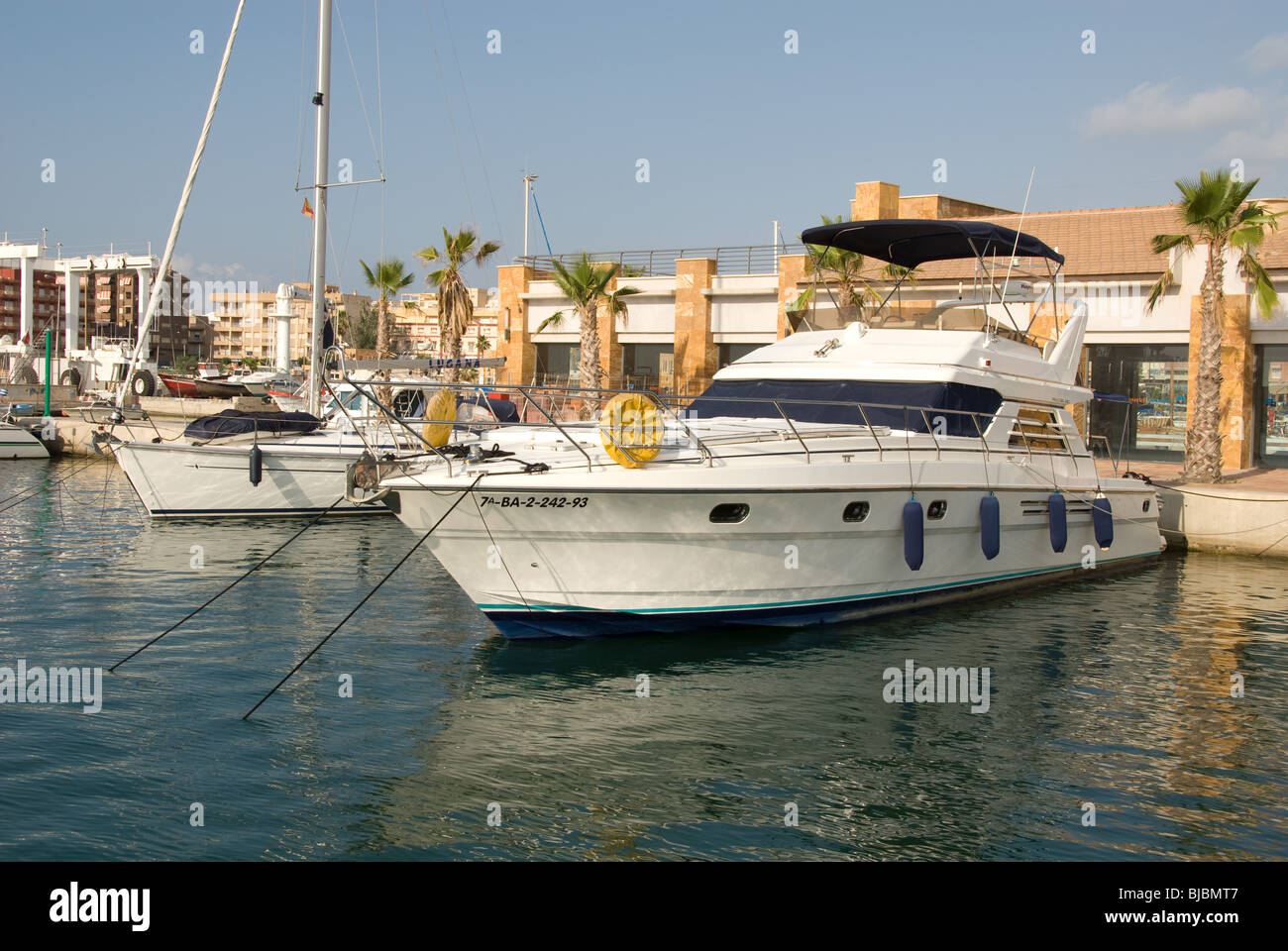 Yacht Boat anchored in the new Marina at Puerto de Mazzaron Murcia Costa  Calida Spain - Stock Image
