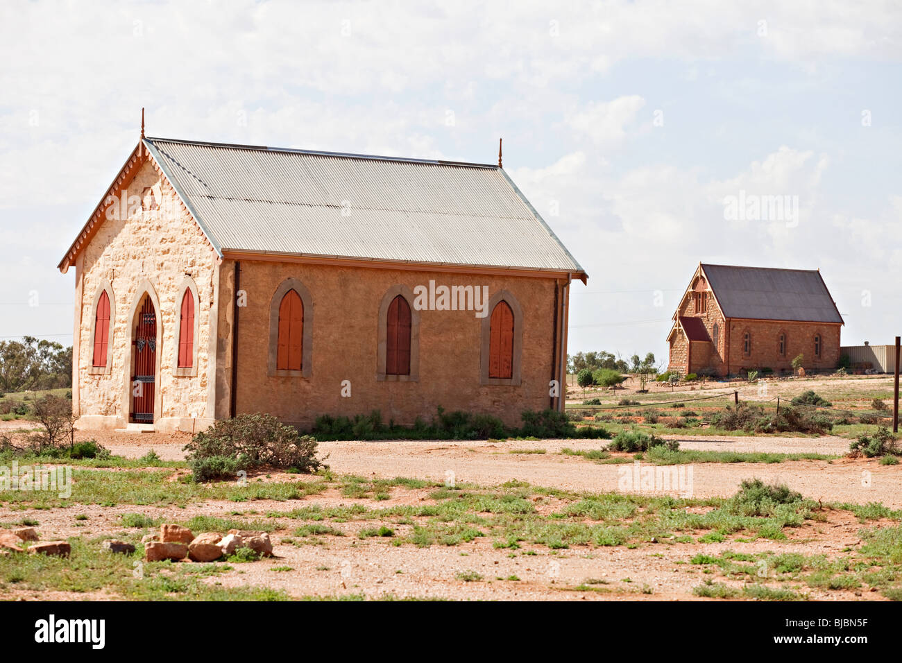Methodist church with catholic church in the background, Silverton near Broken Hill, Outback Australia NSW Stock Photo