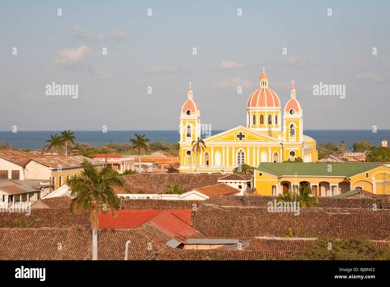 The Cathedral of Granada and Lake Nicaragua in the background, Granada Nicaragua - Stock Image