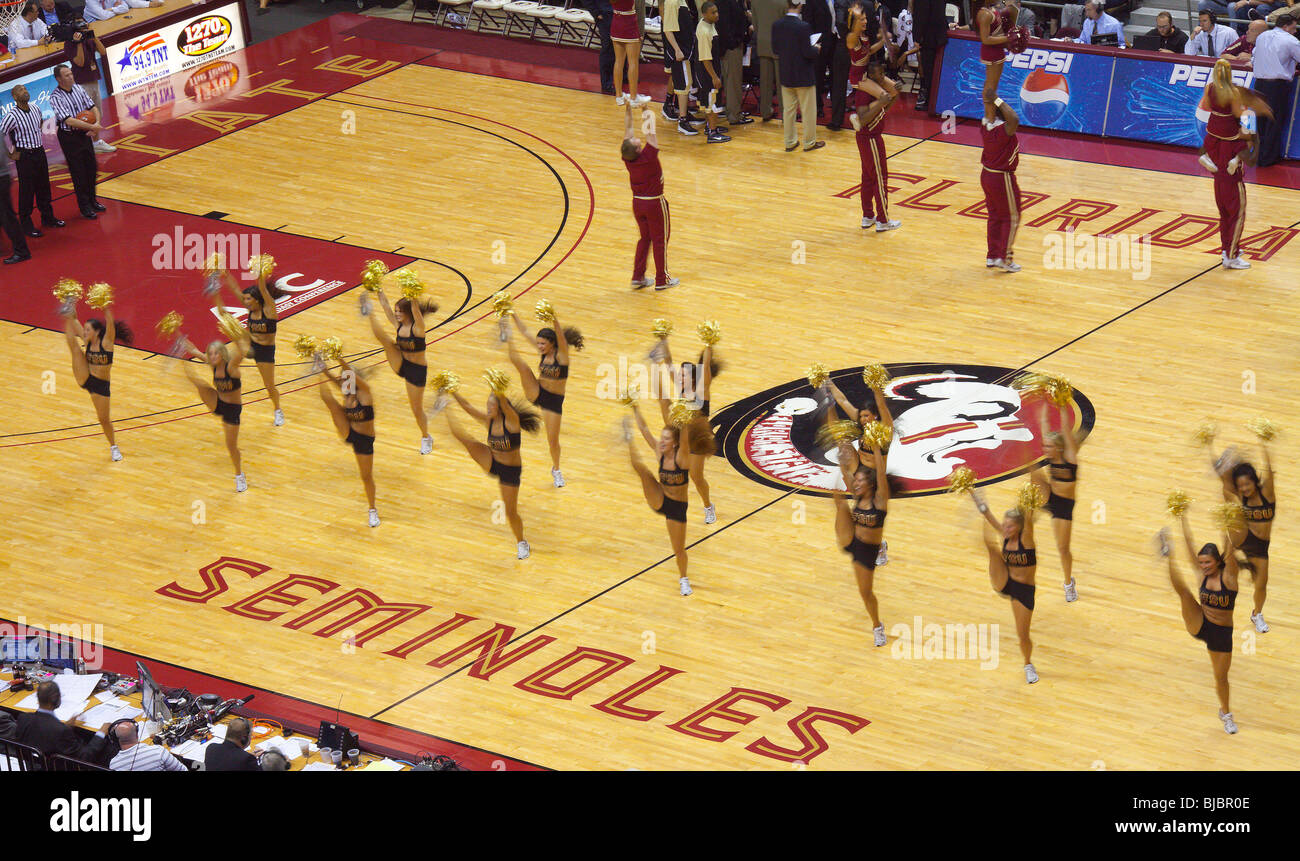 Florida State University cheerleaders and dance team perform during a break in the action - Stock Image
