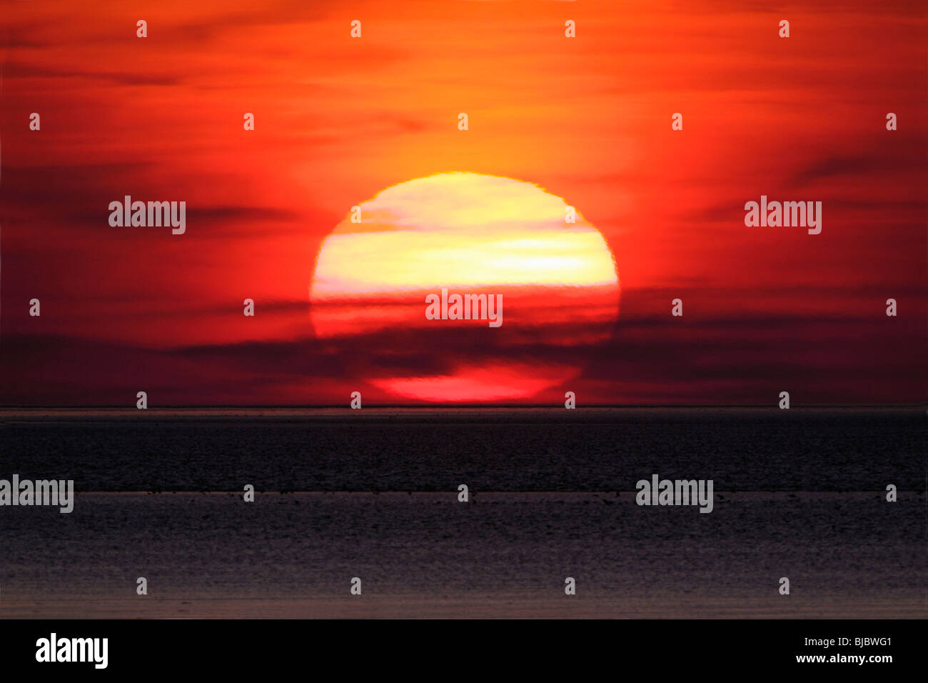 Sunset over the North Sea, Texel Island, Holland - Stock Image