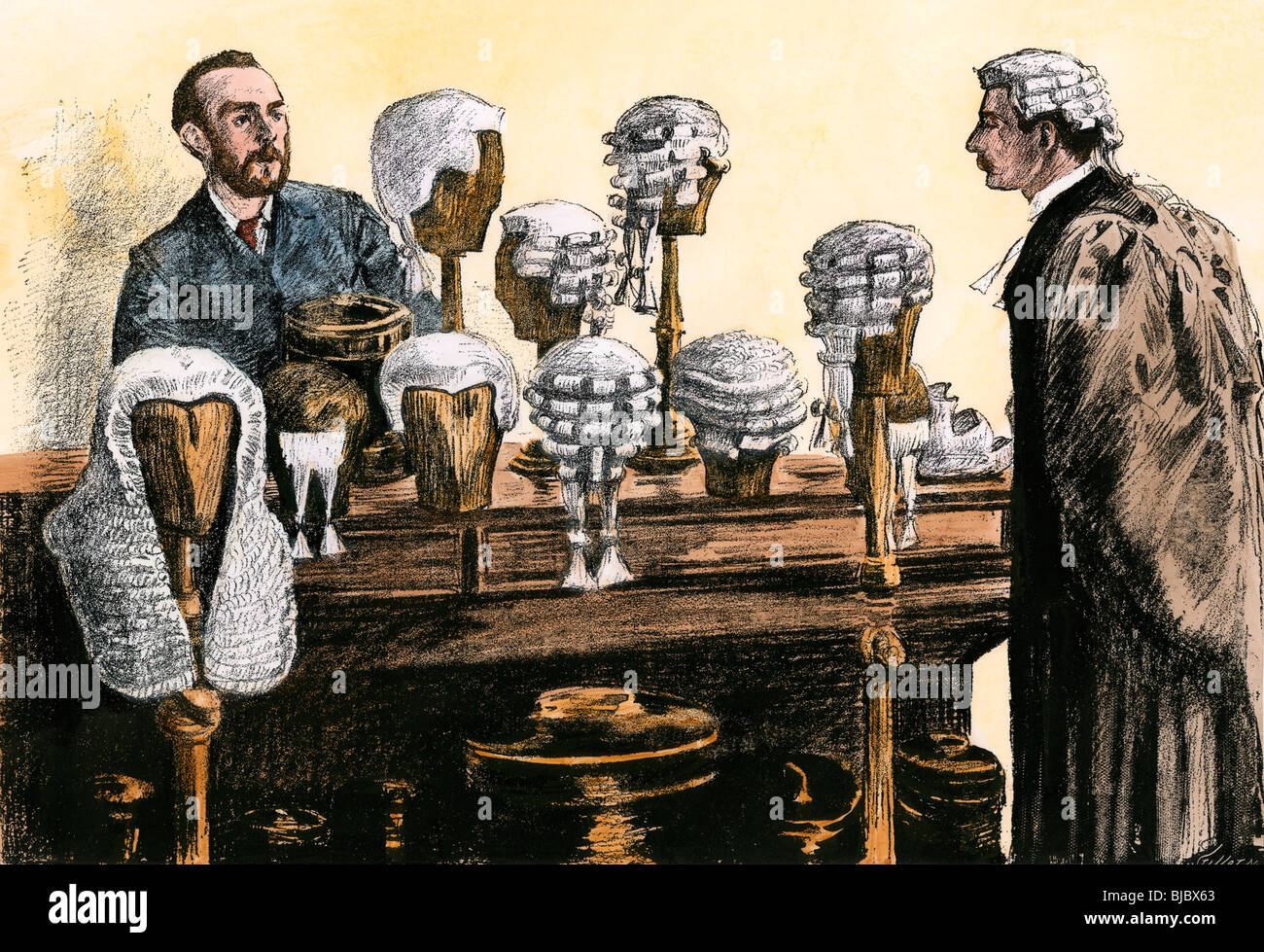 Lawyer selecting the proper wig for appearance in court, London, 1800s. Hand-colored woodcut - Stock Image