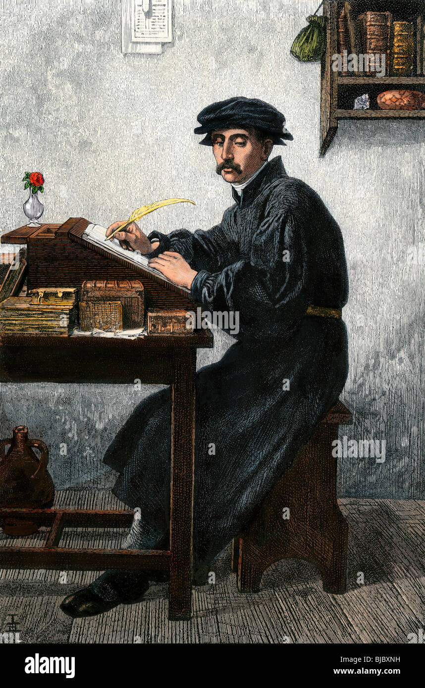 Scholar using a quill pen. Hand-colored woodcut Stock Photo