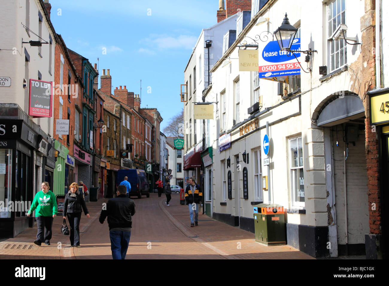 banbury town centre high street oxfordshire england uk gb stock image