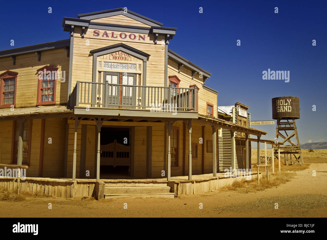 Saloon in western town, which is a permanent and closed movie/TV set outside Santa Fe, New Mexico. Horizontal orientation - Stock Image