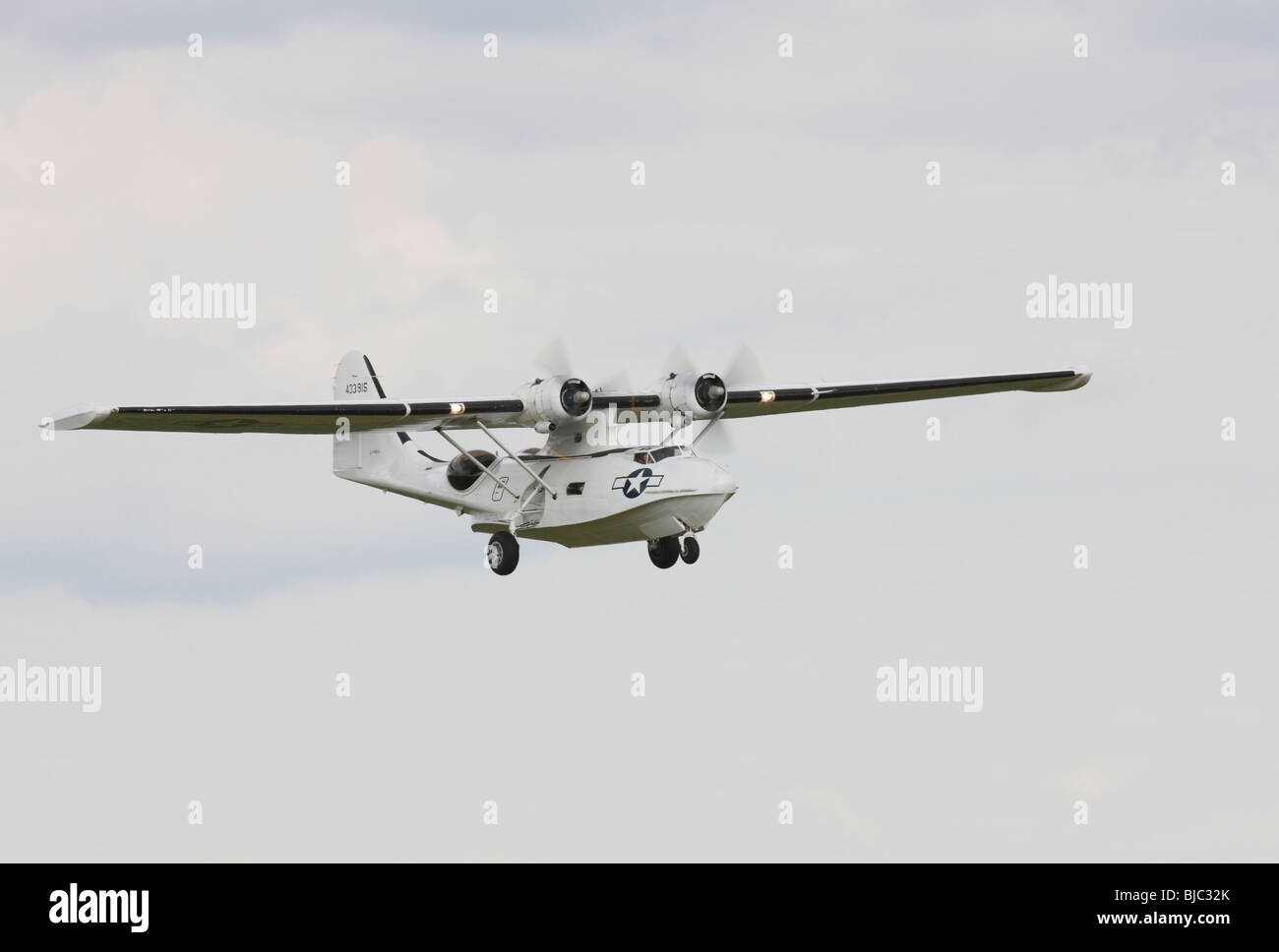 Consolidated PBY-5A Catalina on final approach at Duxford - Stock Image