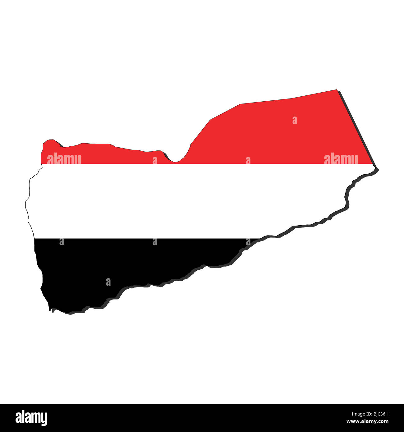 map of Yemen and their flag illustration - Stock Image