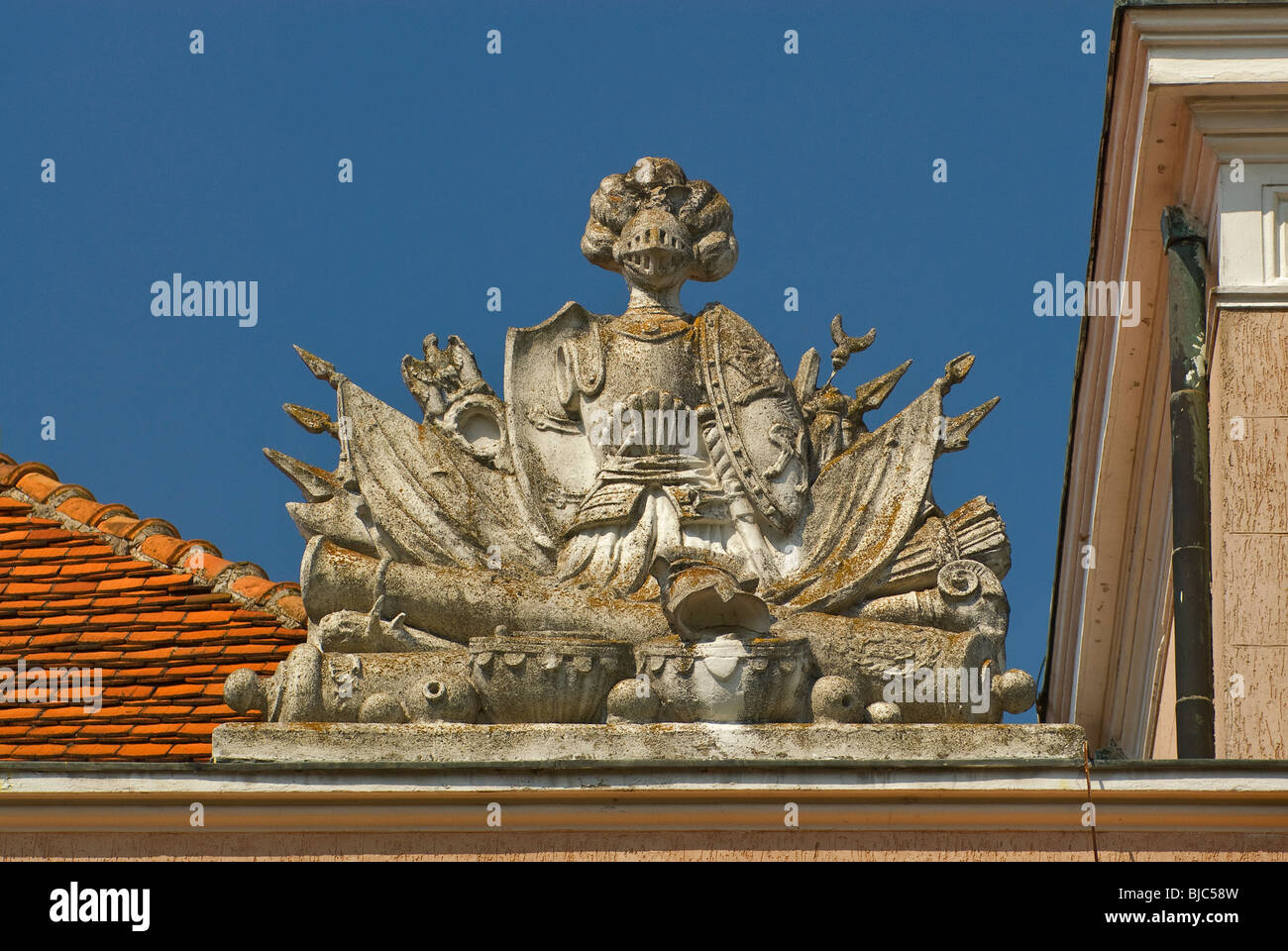 Detail at palace in village of Gębice, Wielkopolskie, Poland - Stock Image