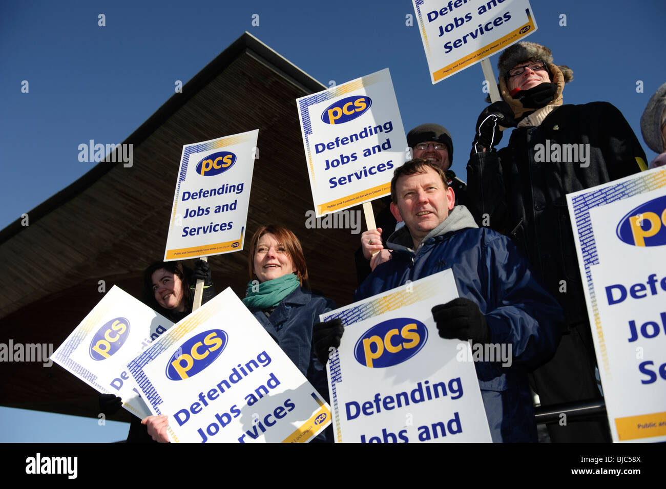 PCS [Public and Commercial Services] union members on strike, picketing Wales Assembly Govenment offices, Cardiff, - Stock Image