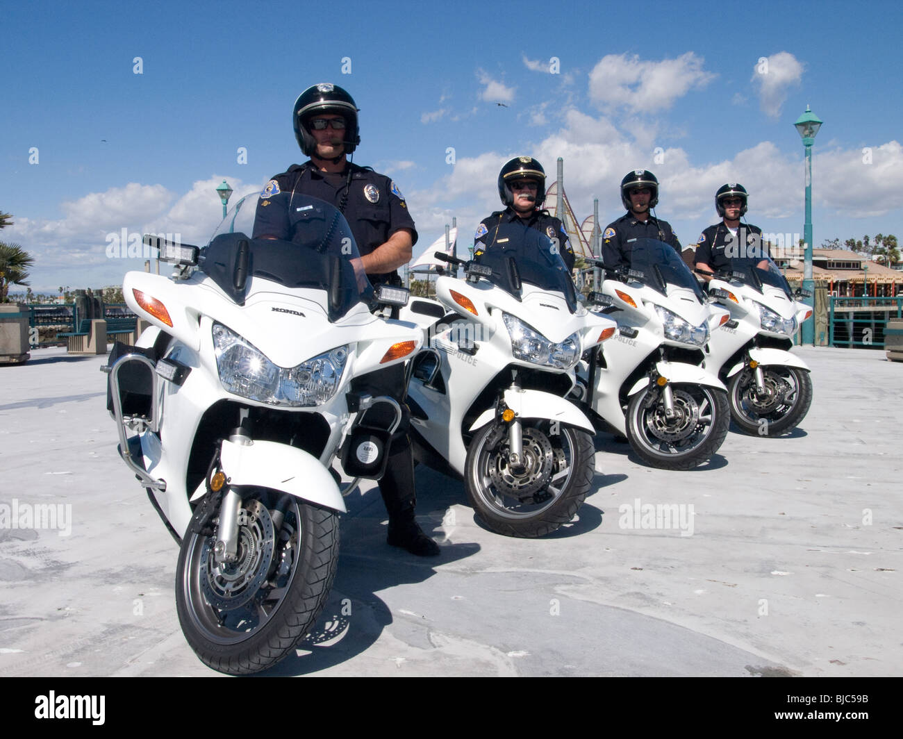 Motor officers line up for year book - Stock Image