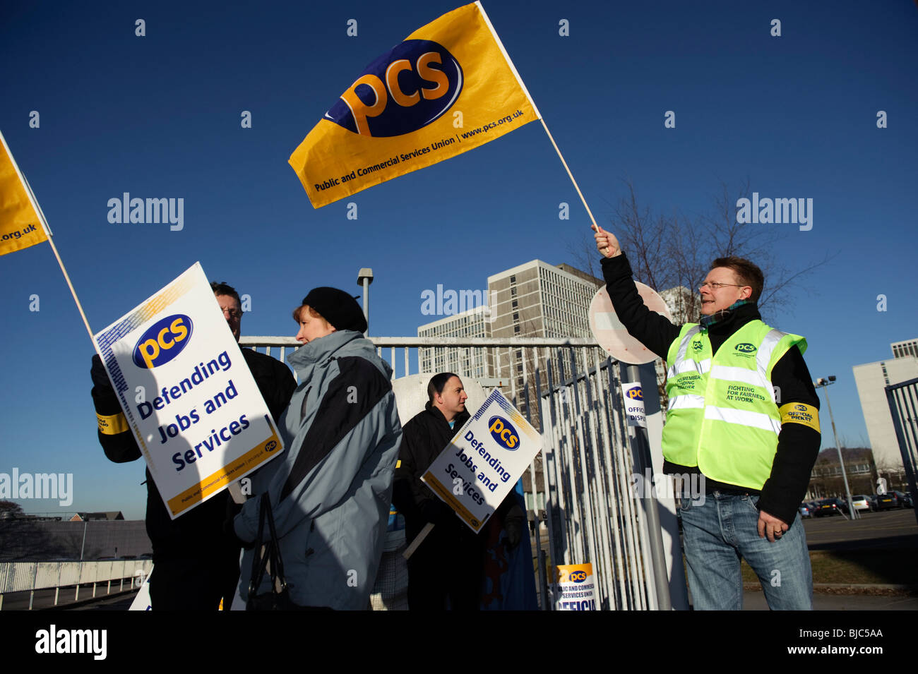 PCS [Public and Commercial Services] union members on strike, picketing welsh civil service offices, Cardiff, March - Stock Image