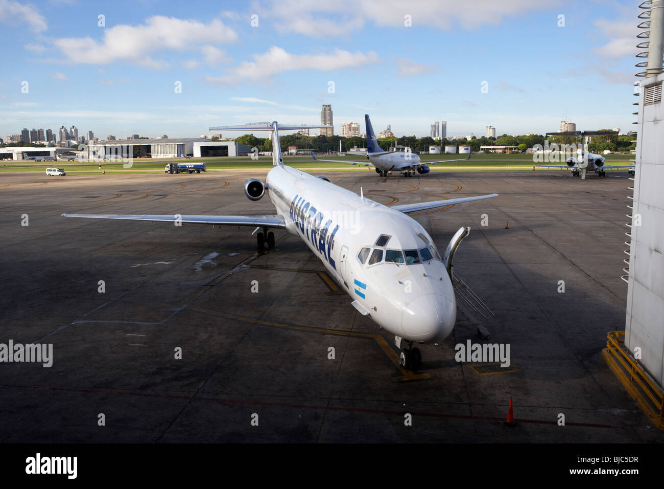 austral lineas areas McDonnell Douglas MD-81 LV-WFN aircraft on stand at aeroparque jorge newbery aep airport buenos - Stock Image
