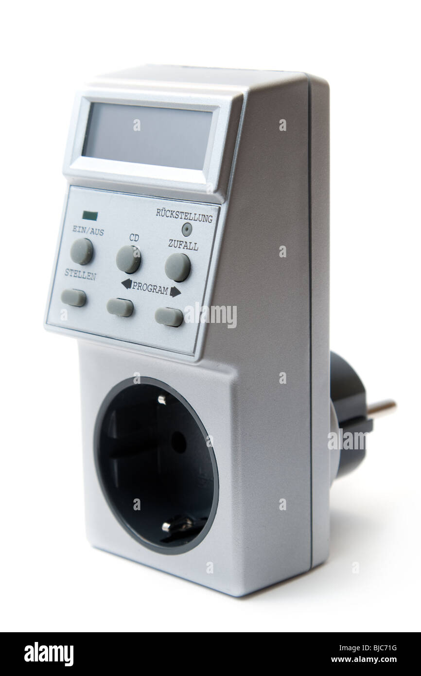 Energy-saving electricity LCD timer. Isolated on white. - Stock Image
