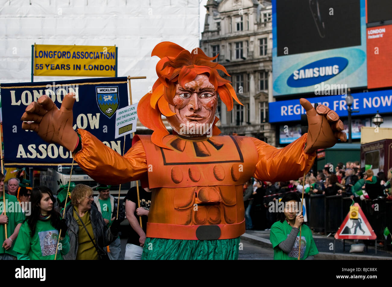 A large puppet in the St Patricks Day Parade in London. - Stock Image