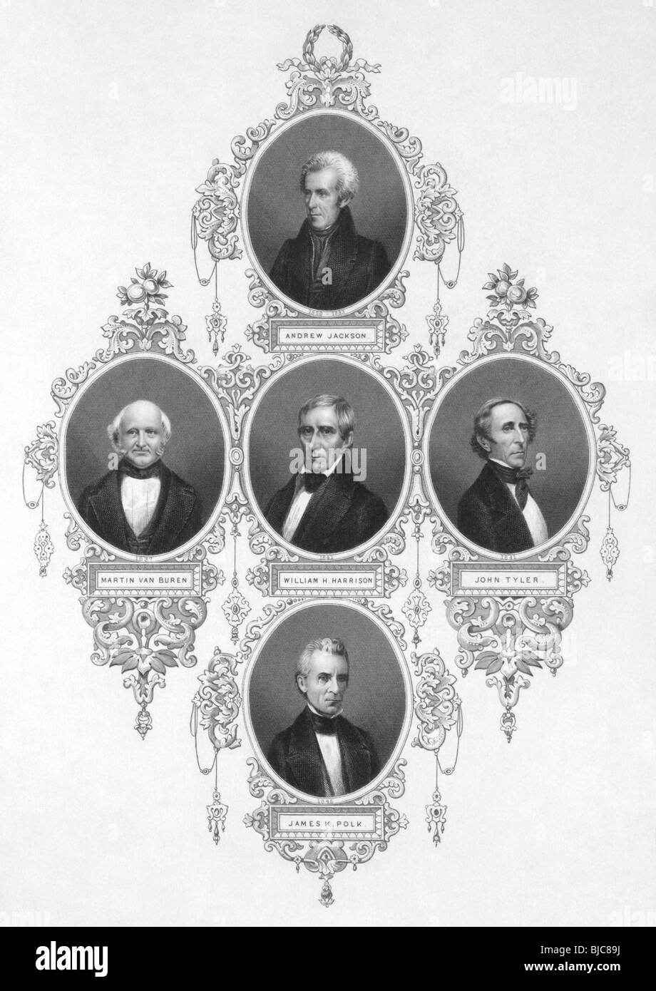 American presidents from 1829 to 1849 on engraving from the 1800s. - Stock Image