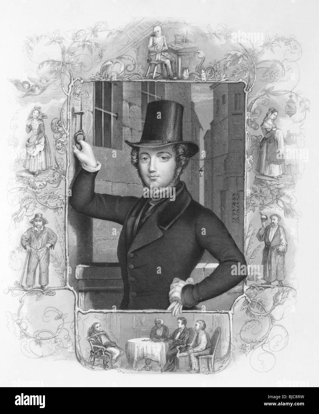 Eugene Sue (1804-1857) on engraving from the 1800s. French novelist. - Stock Image