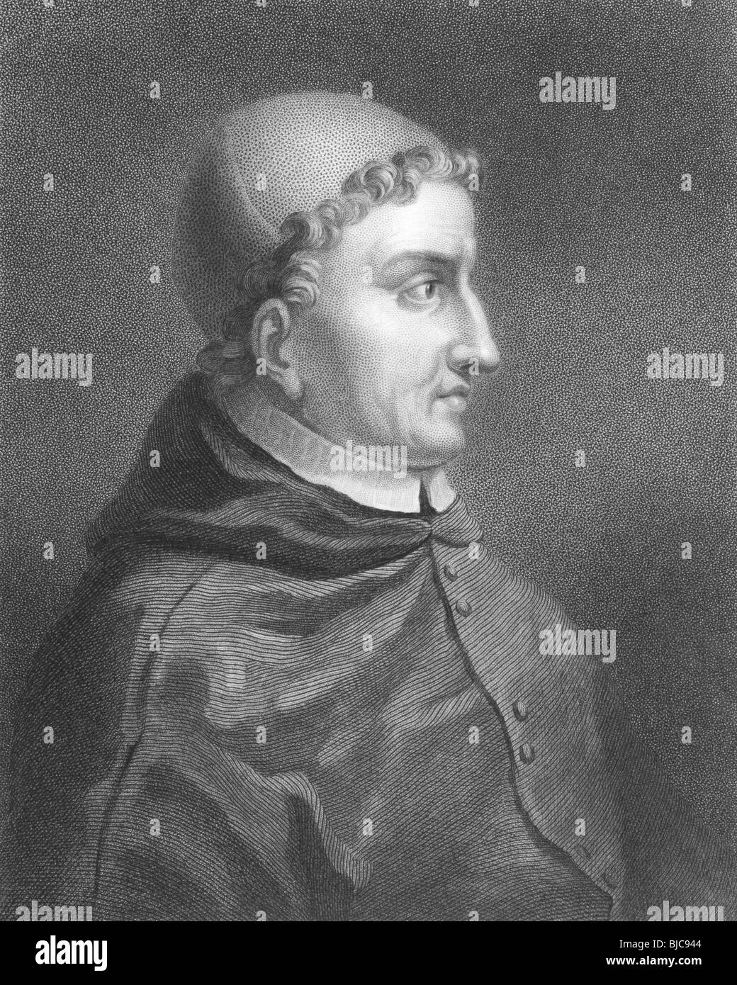 Francisco Jimenez de Cisneros (1436-1517) on engraving from the 1800s. Spanish cardinal and statesman. - Stock Image