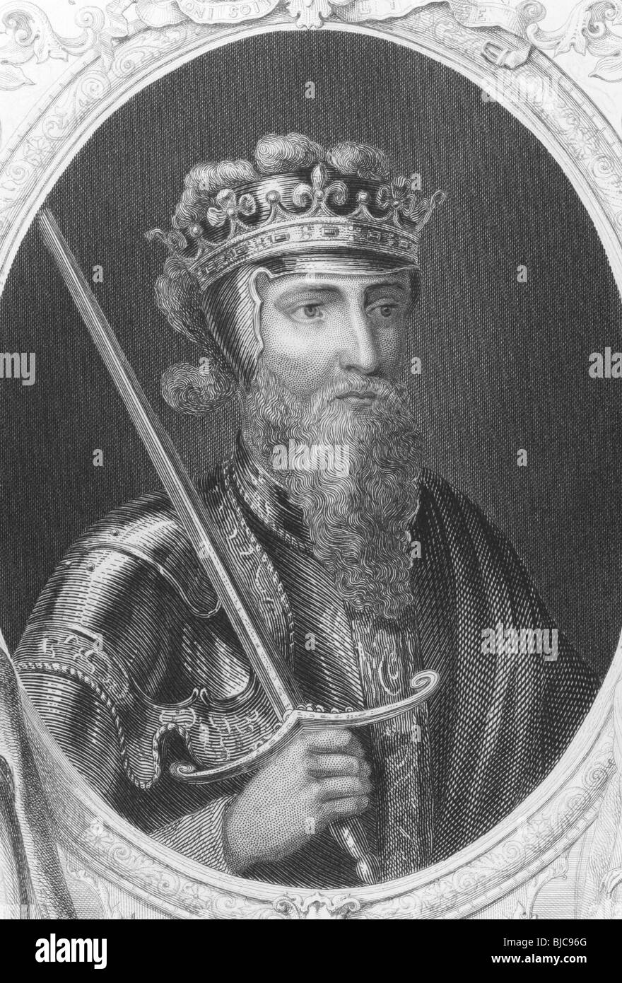 Edward III (1312-1377) on engraving from the 1800s.One of the most successful English monarchs of the Middle Ages. - Stock Image