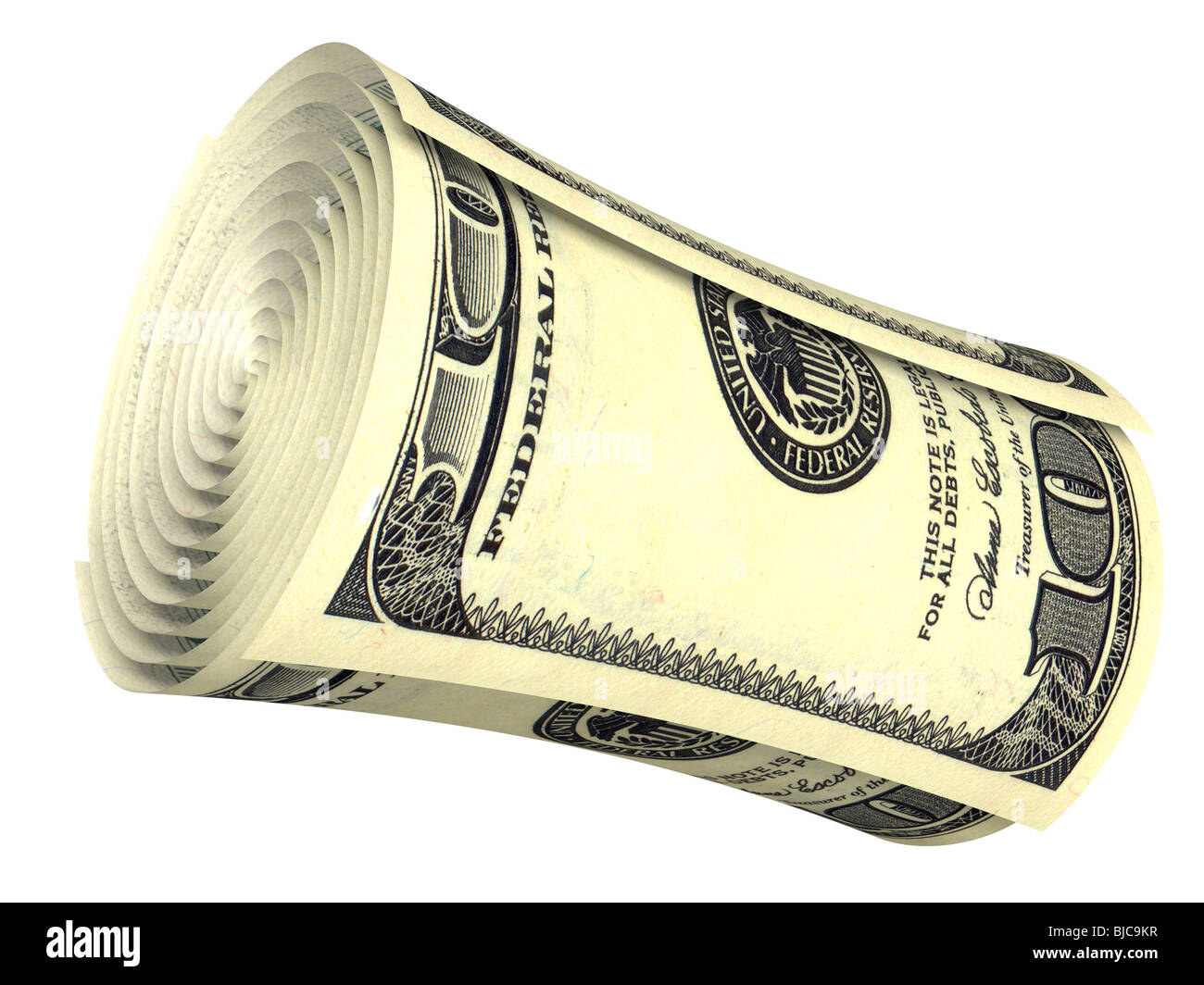 Rolled dollar banknote isolated on white - Stock Image