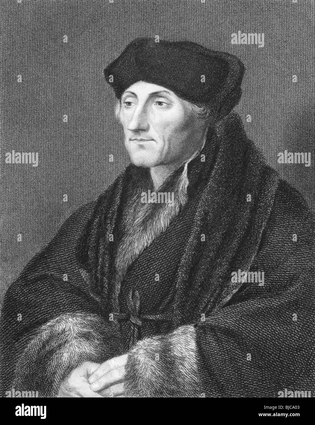 Erasmus (1466/1469-1536) on engraving from the 1800s. Dutch Renaissance humanist Catholic priest and theologian. - Stock Image
