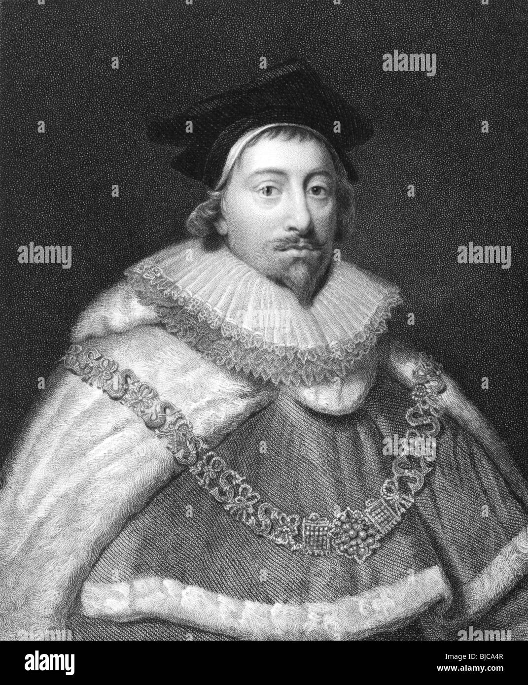 Edward Coke (1552-1634) on engraving from the 1800s.English jurist and Member of Parliament. - Stock Image