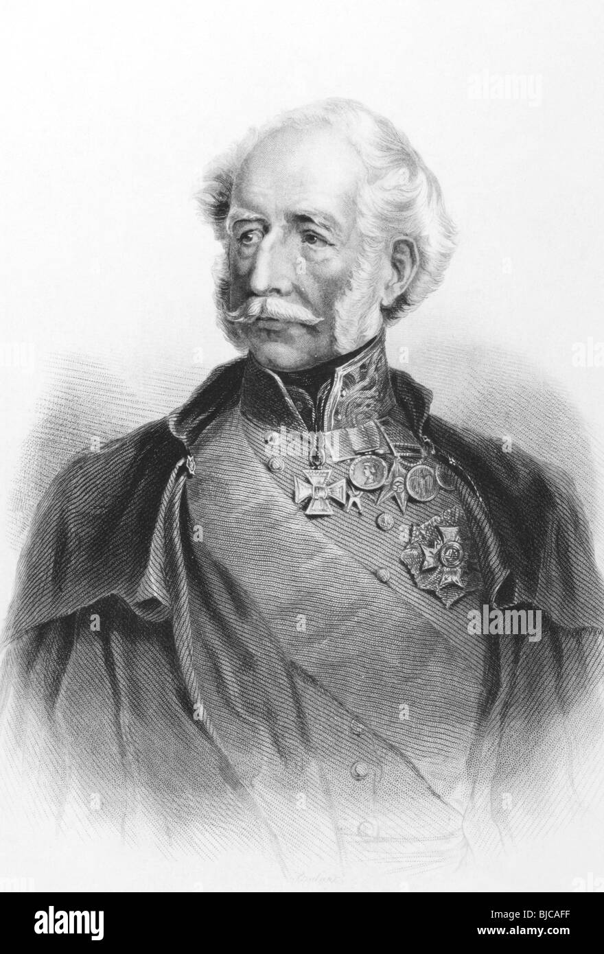 Hugh Gough, 1st Viscount Gough (1779-1869) on engraving from the 1800s. British Field Marshal. - Stock Image