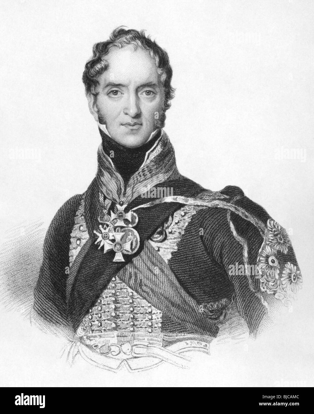 Henry Paget, 1st Marquess of Anglesey (1768-1854) on engraving from the 1800s. British military leader and politician. - Stock Image