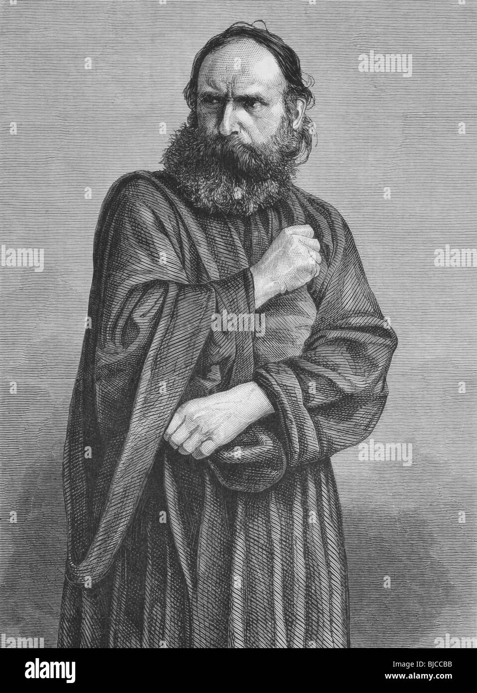 Judas on engraving from the 1800s. Perfomed by George Lechner in the Oberammergau Passion Play. Published in the Stock Photo