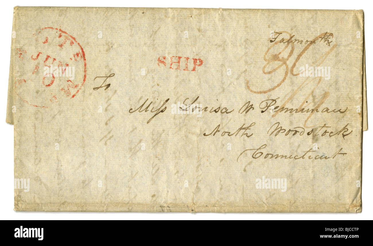 1832 stampless letter. - Stock Image