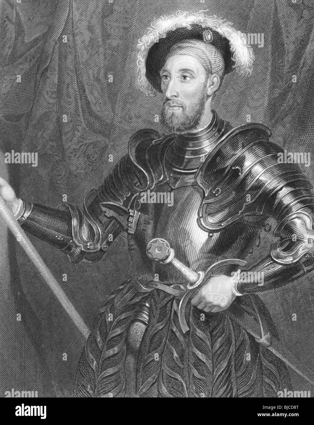 Nicholas Carew (1496-1593) full jousting armour on engraving from the 1800s. English courtier and statesman. - Stock Image