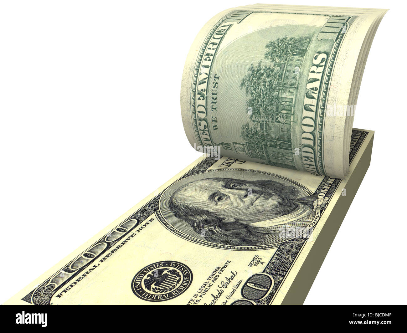 pack of dollars with screwed bills isolated on white. - Stock Image