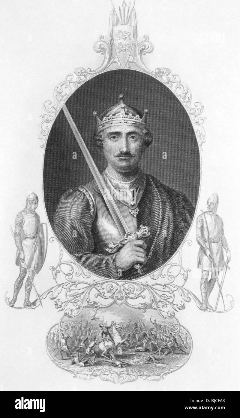 William the Conqueror (1027-1087) on engraving from the 1800s. King of England during 1066-1087. - Stock Image