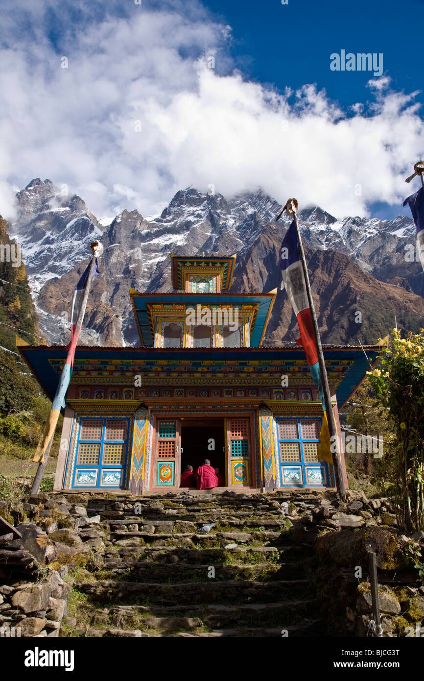 A Temple And Himalayan Peaks At A Remote Tibetan Buddhist