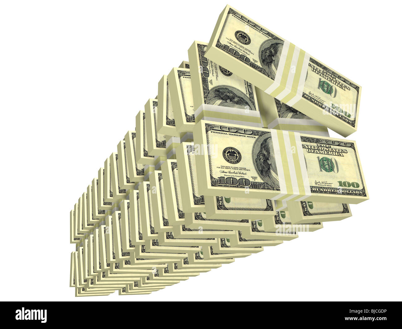 unordered tall stack of bills isolated on white - Stock Image