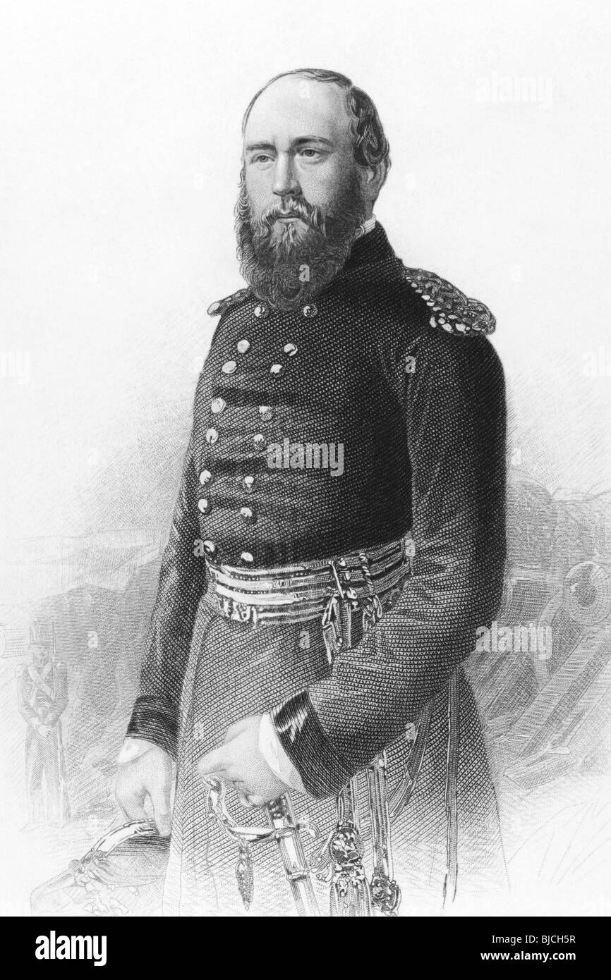 Prince George, Duke of Cambridge (1819-1904) on engraving from the 1800s. Member of the British Royal Family and - Stock Image