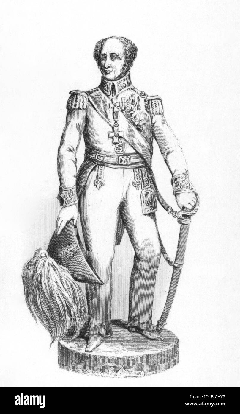 Rowland Hill, 1st Viscount Hill (1772-1842) on engraving from the 1800s. Soldier who fought alongside with Duke - Stock Image