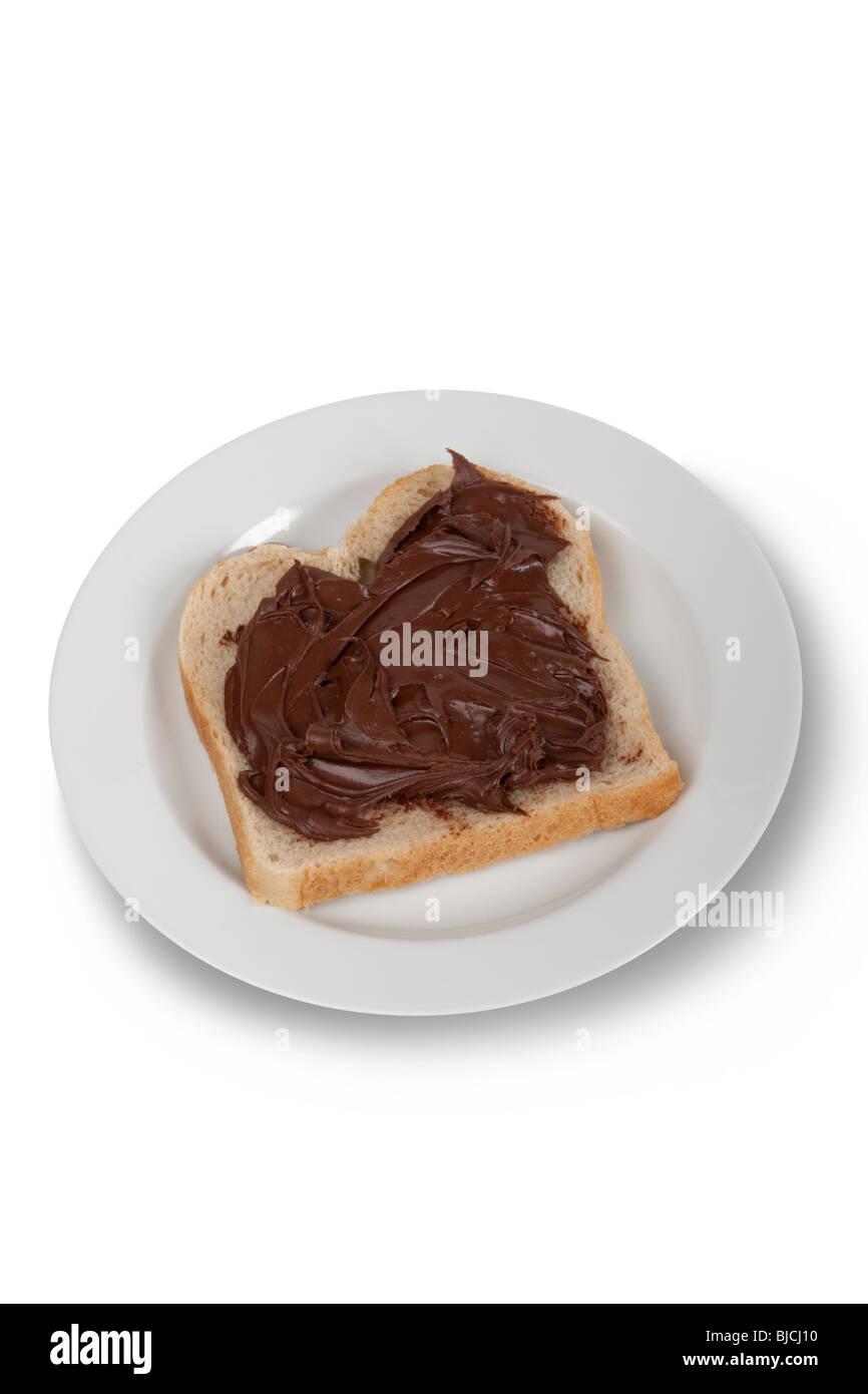 Toast with hazelnut cream - Stock Image
