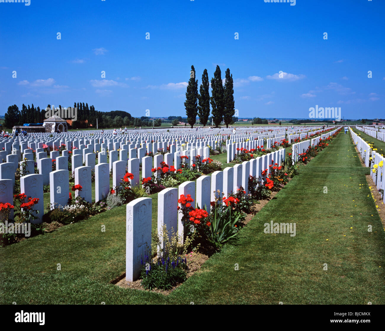 Tyne Cot British and Commonwealth War Cemetery at the Belgian city of Ypres - Stock Image