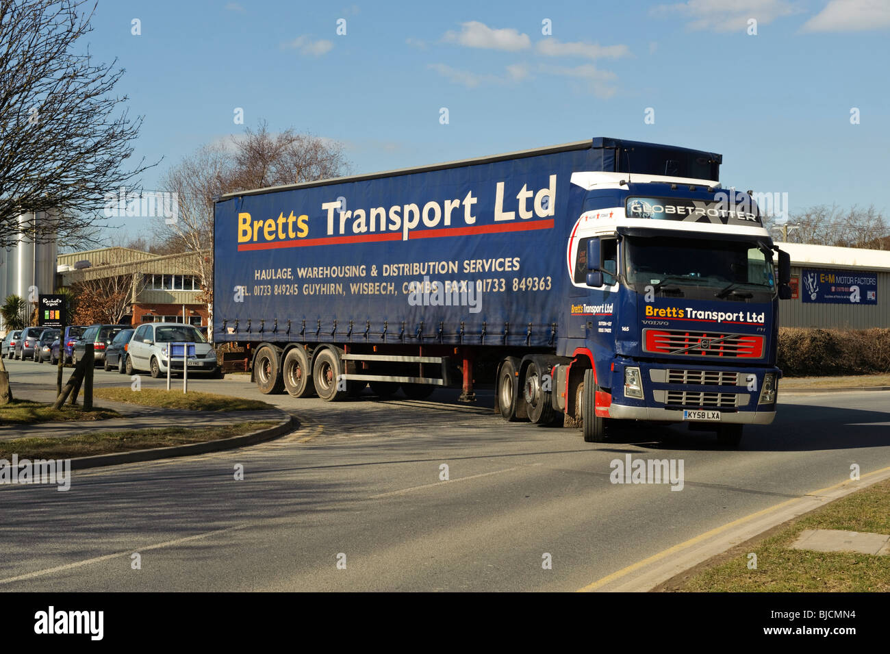 Bretts Transport haulage HGV truck, Glanyrafon Industrial Estate, Aberystwyth Wales UK - Stock Image