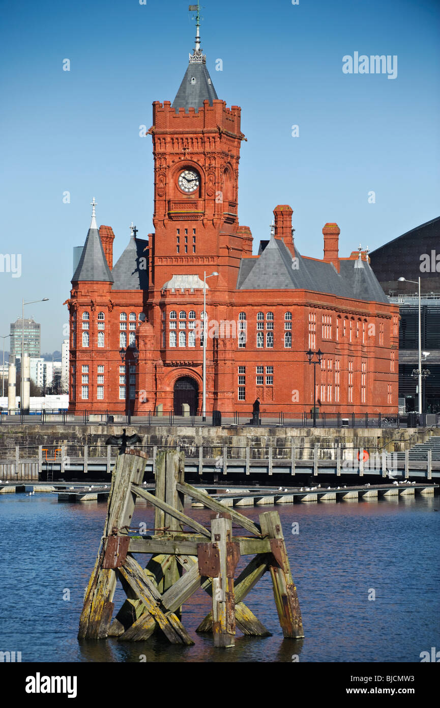 The old victorian Pierhead red brick building in Cardiff Bay Wales UK - Stock Image