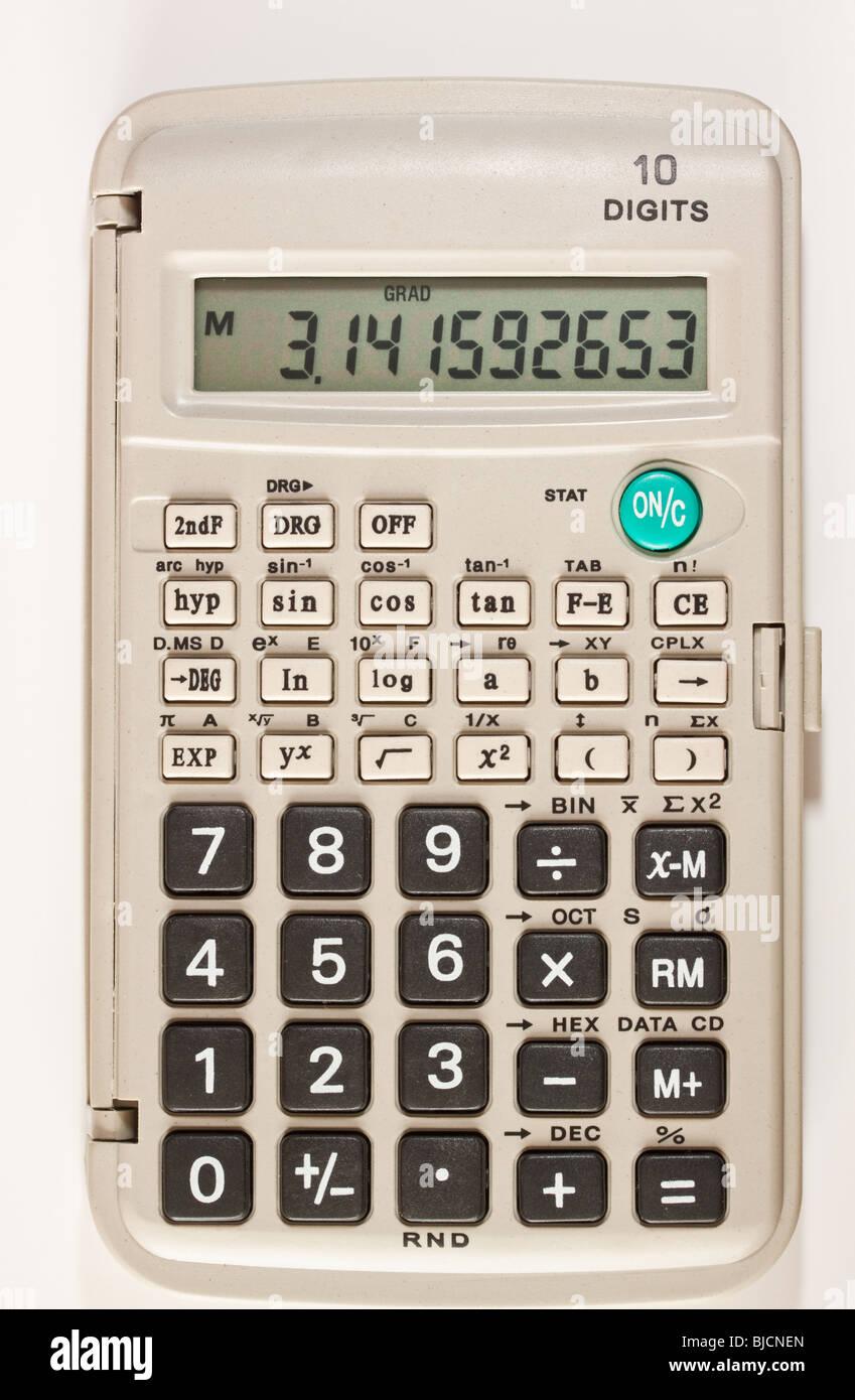 scientific calculator showing numerical value of pi stock photo