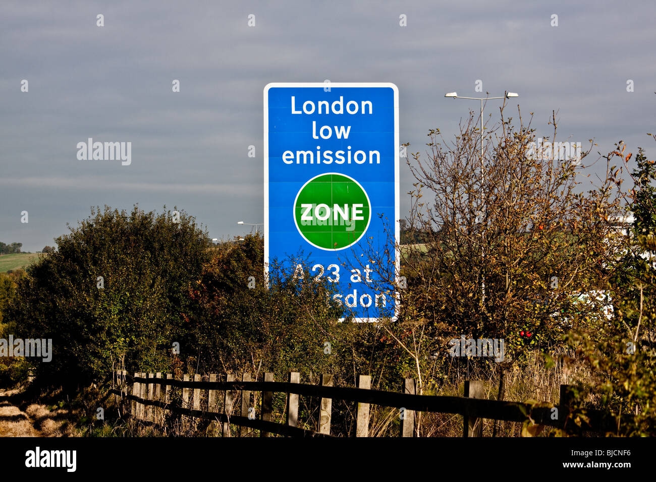 First sign of the Low Emission Zone on the M23 Merstham, Surrey - Stock Image
