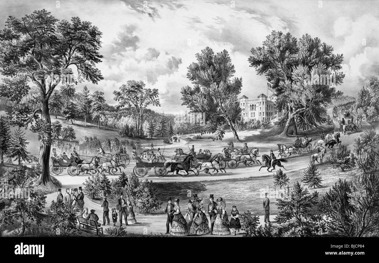 Black and white lithograph print circa 1869 by Currier & Ives entitled 'The Grand Drive - Central Park New - Stock Image