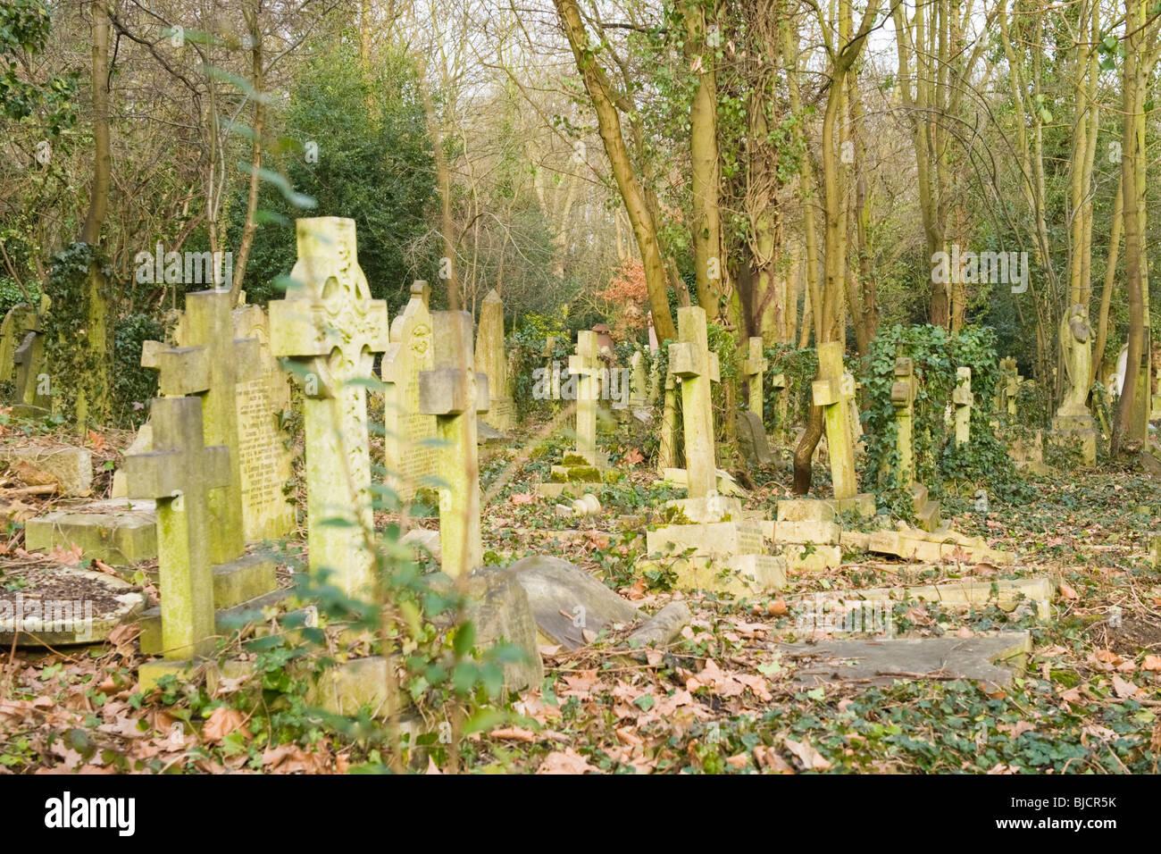 Highgate Cemetery , London , random headstones & graves in disrepair - Stock Image