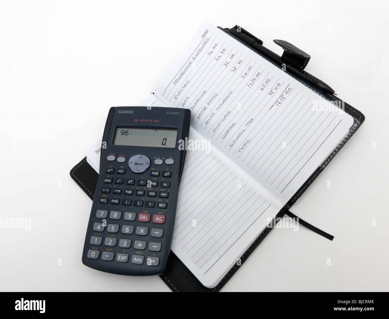 handwritten budget list calculator note book stock photo 28556206