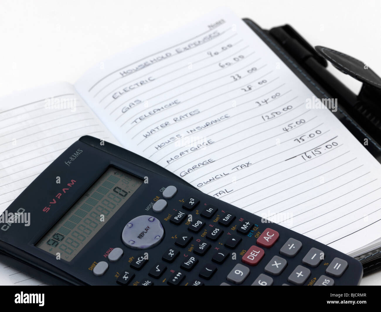 handwritten budget list calculator note book stock photo 28556215
